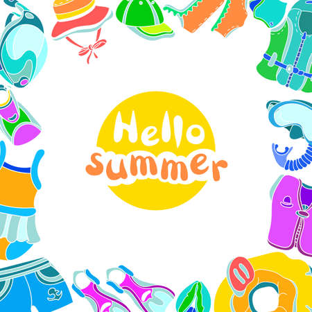 Template with swimming goods for kids and phrase Hello summer on white background. Vector color illustration. Vest, mask, tube, swimsuit, cap, panama, fins, swimming trunks. Summer childrens holiday