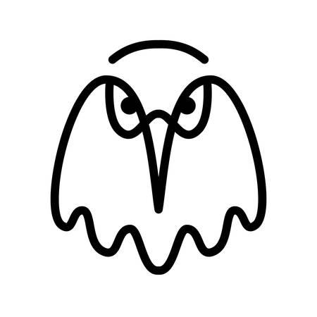 Eagle. Bird head contour on a white background. Line art. Black logo, emblem, vector illustration Illustration