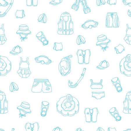 Pattern of swimming goods for kids on white . icons Illustration. Set. Vest, mask, tube, swimsuit, cap,  fins, swimming trunks. Summer childrens holiday