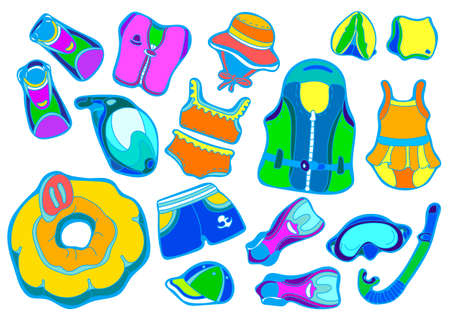 Color set with swimming goods for children on white . illustration isolated for easy editing. Vest, mask, tube, swimsuit, cap, , fins, swimming trunks. Summer kids holiday