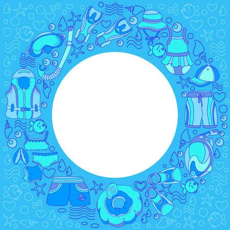 Sjabloon met zwemmen goederen voor kinderen in cirkel op blauwe achtergrond. Vector illustratie. Vest, masker, tube, badpak, badpak, opblaasbare ring, vest, zwembroek. Zomervakantie voor de kinderen Stock Illustratie