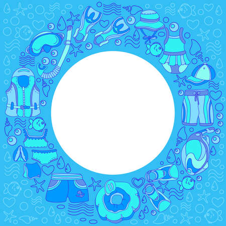 swimming cap: Template with swimming goods for kids in circle on blue background. Vector illustration. Vest, mask, tube, swimsuit, swimsuit, inflatable ring, waistcoat, swimming trunks. Summer childrens holiday
