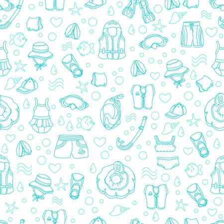 Seamless pattern of swimming goods for children on white background. Vector. Art line Illustration. Set. Vest, mask, tube, swimsuit, cap, panama, fins, swimming trunks. Summer kids holiday