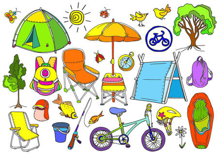 cartoon umbrella: Set with childrens trekking in the forest, fishing, picnic. Doodle vector  isolated and grouped for easy editing. Tent, backpack, bike, chair, umbrella, rod, sleeping bag, compass. Colorful summer Illustration