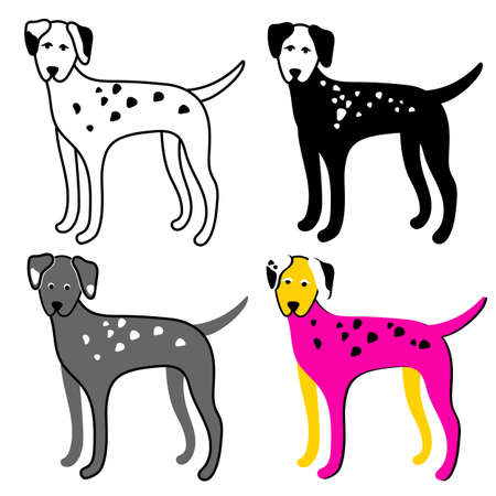Color set of dogs on a white background. Dalmatian. Vector collection isolated and grouped for easy editing.