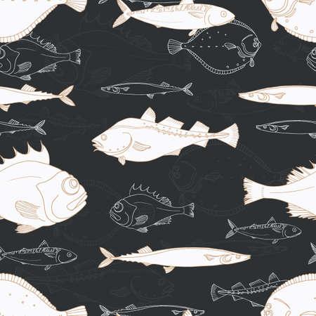 Naadloos patroon van witte zeevis op zwarte achtergrond. Baars, kabeljauw, scomber, makreel, bot, saira. Vector doodle. Elementen voor uw aardachtergrond