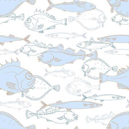 Naadloos patroon van witte en blauwe zeevis. Baars, kabeljauw, scomber, makreel, bot, saira. Vector doodle. Elementen voor uw aardachtergrond Stock Illustratie