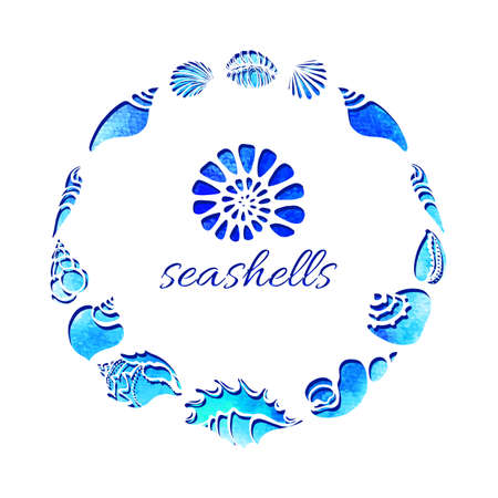 Template. Set of silhouettes of sea shells in circle. Conch, spiral, helix. Undersea world. Place for text. Vector illustration for symbol greeting card, wallpaper, background, print Illustration