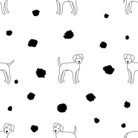 Seamless pattern of dogs on a white background. Dalmatian. Vector illustration. Great for web, print, home decor, textile, wallpaper, invitation card. Illustration