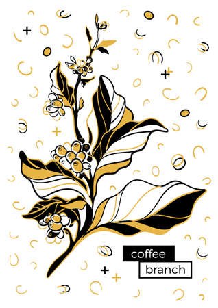 Coffee branch with leaves and coffee beans. Botanical contour drawing. Retro memphis style, pop art. Çizim