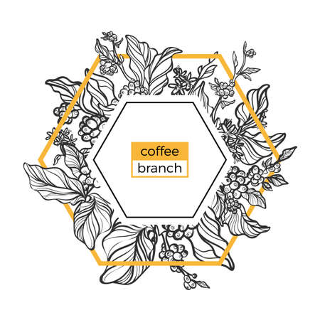 Trendy template. Coffee branches with leaves, flowers and natural coffee beans. Design. Black and white, gold. Copy space. Vector illustration in icosahedron Eps.10