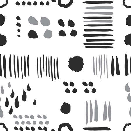 Seamless pattern with abstract spot, dot and line on a white background. Vector doodle. Great for web, print, home decor, textile, wallpaper.