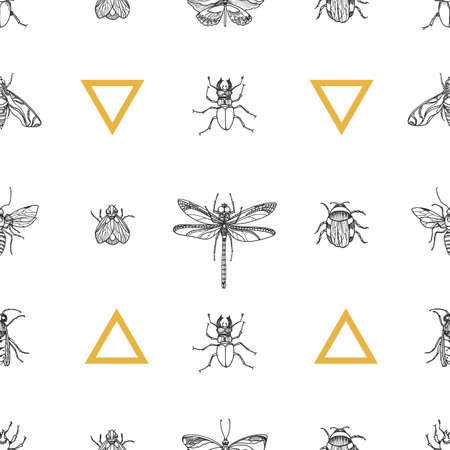 Trendy seamless pattern of insects on white background. Vector design. Sketch with triangle. Elements for your nature design. Eps.10 Ilustração