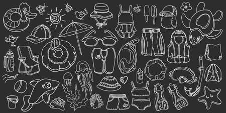 Doodle set of swimming goods for kids. Vector icons Illustration on black background. Sketch. Vest, mask, tube, swimsuit, cap, panama, fins, swimming trunks. Summer childrens holiday at sea