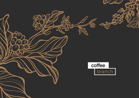 Plantilla de la rama dorada del árbol de café con hojas y granos de café natural. Producto organico. Silueta, línea de arte. Ilustración botánica. Vector aislado en el fondo negro eps.10