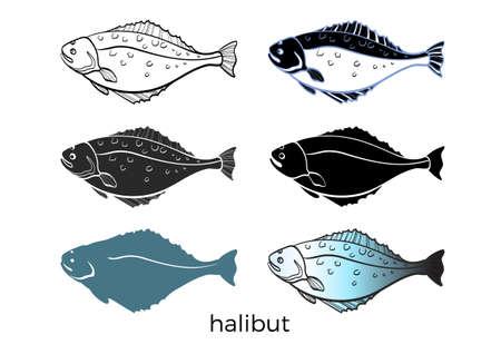 Set van zeevis op witte achtergrond. Heilbot. Vector vorm. Zeevruchten, schets, silhouet. Illustratie geïsoleerd en gegroepeerd voor makkelijk bewerken van eps.10