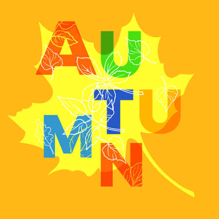Template of different autumn letters and leaves. Background. Vector sketch. Illustration eps.10 Illustration