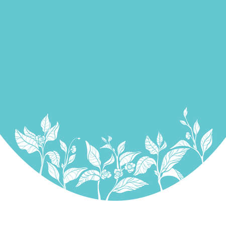 Template with fresh composition of branches. Natural leaves and flowers. Design. Can be used as label. Eco-product. Copy space. Vector illustration Eps.10