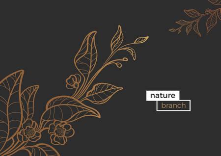 Modèle vectoriel des branches de la ligne d'art or. Forme vintage illustration de feuilles et de fleurs. Collection de la nature sur fond sombre. Dessin réaliste botanique. Alimentation biologique Eps.10 Banque d'images - 88917821