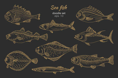 Set of golden sea fish.
