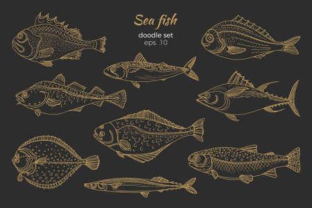 Set of golden sea fish. Stock Vector - 93878196