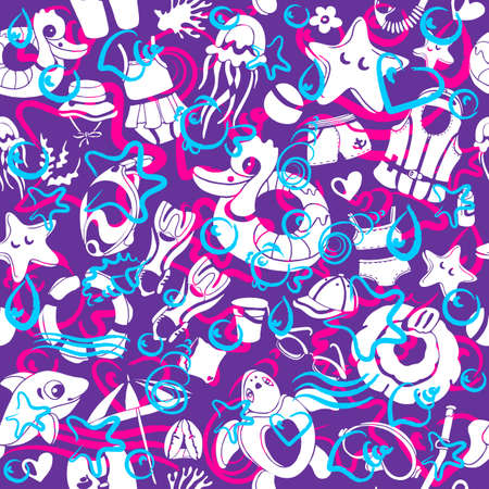 Vector seamless pattern with summer elements for childrens swimming. Pop art Sketch art nature design, print Realistic doodle shape, wave, water texture. Travel, marine style, color modern background