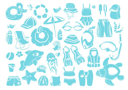 Vector set with summer elements for childrens swimming. Sketch art design. Realistic shape. Big collection perfect for web, card, cover, sticker kit Travel life style illustration on white background