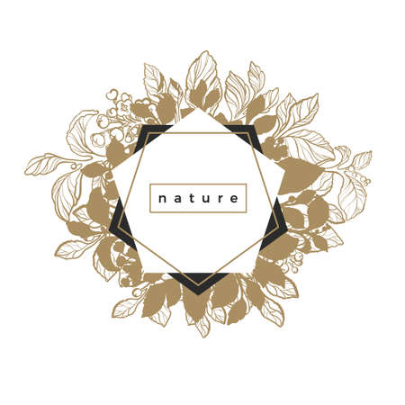 Trendy template of geometrical nature frame. Symbol of organic Floral bouquet. Card of mate branch with berry, leaf and flower Art deco. Logo in pentagon Vector golden illustration Sketch. Copy space