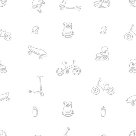 Vector seamless pattern of sport goods for kid. Single art line sketch illustration Scooter, rollers, skate, bike, sneakers, backpack, helmet Summer children holiday Hand draw set Real life background
