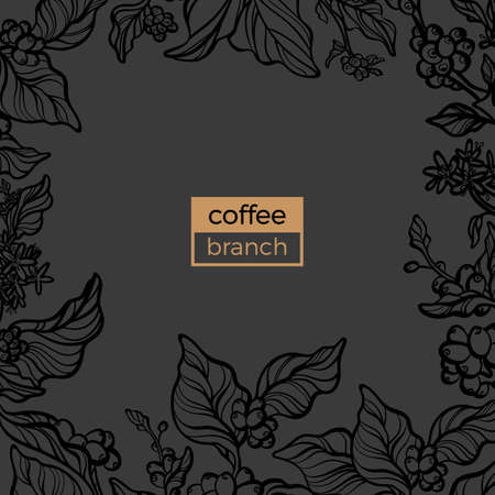 Vector exotic template of natural coffee branch with leaf, flower,  bean. Fresh organic food card. Floral silhouette, hand draw art line. Botanical illustration on black background. Creative texture