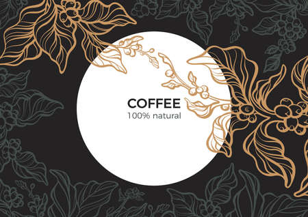 Vector template of art line coffee branch with leaf, natural bean. Sketch vintage style. Night, moon, garden. Graphic food, organic drink. Retro illustration for cafe, menu, packing, floral background Illustration