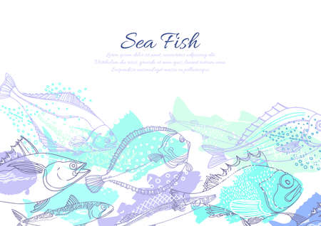 Vector marine template of nature seafish. Doodle art line abstract design. Color silhouette illustration. Graphic sketch, blue ocean background Perch, cod, mackerel, flounder, saira Organic fresh food