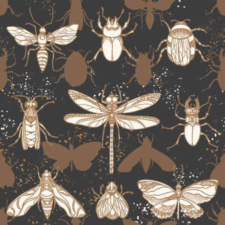 Vector seamless pattern. Shape moths in the night. Protection from insects Nature animal graphic print. Set golden elements for camouflage, wildlife print, textile design. Hunting, mosquito