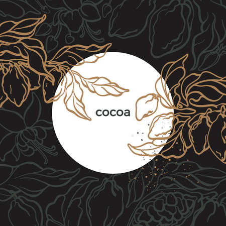 Vector nature template. Retro card of cocoa tree, branch, leaves, bean, grain. Organic chocolate, sweet aroma drink. Floral exotic background, tropical design, night jungle, moon Vintage illustration