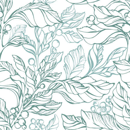 Seamless pattern of mate leaves, flower, berry Vector hand drawn sketch Realistic floral illustration Green herbal plant Simple design Organic nature on white background Eco vintage style Bio medicine