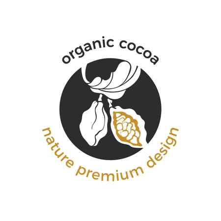 Vector eco-logo, biologisch label van cacaoboom, bladeren, bonen. Veganistisch zoet eten, biologische chocolade. Natuur tropische illustratie. Ruw, gezond etiket, printsticker, natuurlijk productpictogram voor biomarkt