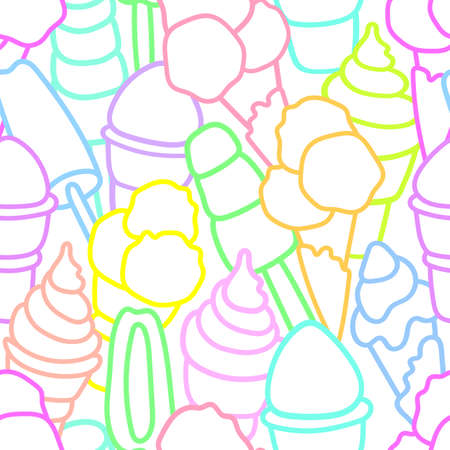Vector seamless pattern Set of sweet ice cream on white background. Simple design Art line collection Soft color Elements for your summer print Doodle illustration Hand drawn wallpaper