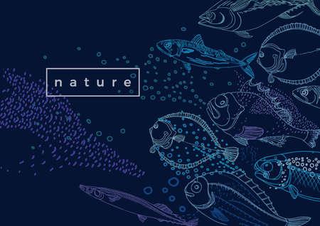 Marine vector template. Nature sea fish. Doodle sketch design. Hand draw illustration Mackerel, flounder, saira, halibut, codfish Ocean fresh food Art line background for banner, market, menu, packing
