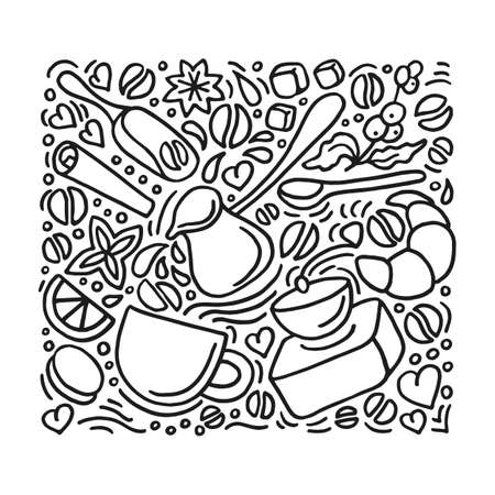 Vector design of modern poster. Aroma natural coffee set on white background. Group doodle elements, art line hand drawing sketch of grain, beans, cup, mill, dessert for print, cafe, organic food shop