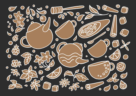 Vector set. Aroma natural herbal tea on black background. Group of doodle elements isolate and grouped Art line hand drawing sketch Cup, leaf, flower, mint, lemon Herbal fresh drink Organic bio design