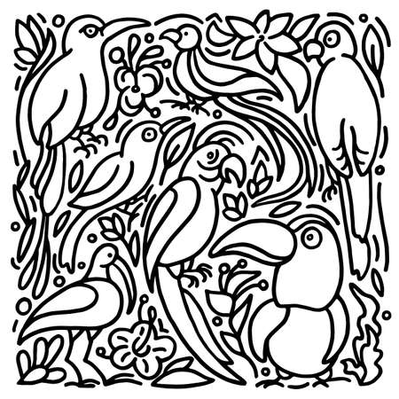 Vector set of exotic bird. Tropical jungle, plant, leaves, strelitzia, hibiscus flower. Cockatoo, toucan, macaw, parrot Hand drawn abstract design on white background Sketch art line style Summer card