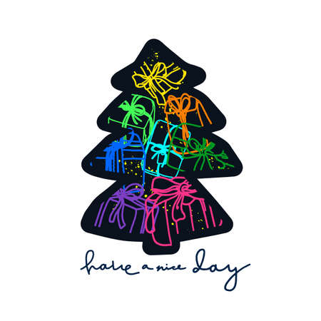 Vector new year card, invite. Holiday tree shape Gift boxes in cartoon style. Doodle color ribbon, rainbow wrap, package. Symbol on white background. Art line illustration Neon sign, night fireworks