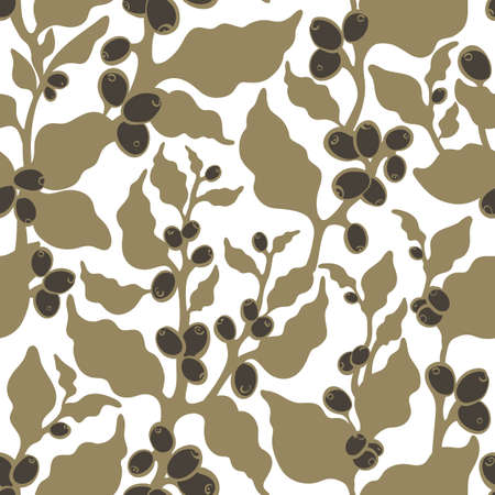 Vector seamless nature pattern Shape of tree, branch, leaves, bean, grain, berry Simple print, organic plant Floral silhouette Hand drawn illustration Summer coffee plantation, harvest, golden foliage Stock Illustratie