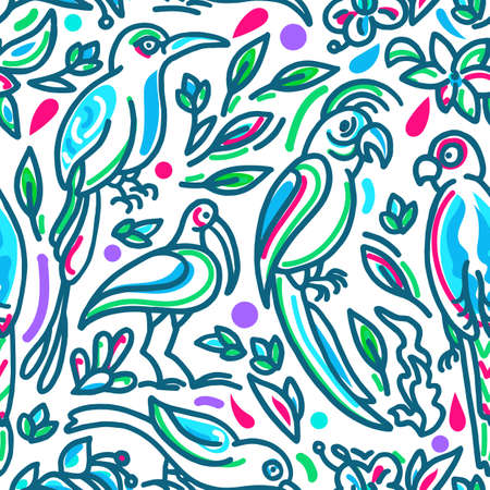 Seamless tropical vector pattern Summer bright flowers, exotic leaves, birds, parrot of paradise in colored jungle Hand drawn sketch Wallpaper, decor packaging, print for fashion on a white background Stock Illustratie