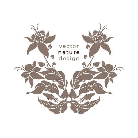 Vector nature elegant emblem Art deco design luxury pattern for stamp Natural symbol, floral card, leaf, flower Vegan ornament, organic plant in bloom, golden label for print, frame for packing, cover