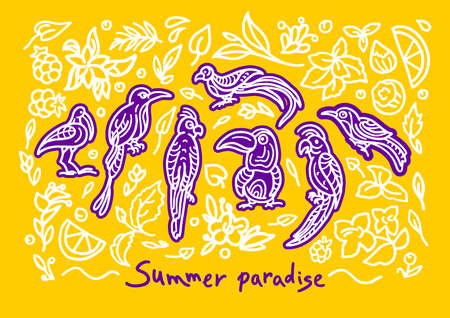 Vector summer abstract set. Ethnics ornament Tropical jungle Bright nature background Art line bird, doodle plant, flower Ornate hand drawn graphic illustration Color pattern Group of isolated objects