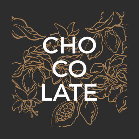 Vector graphic template. Chocolate nature illustration. Cacao tree, branch, bean, berry, fruit. Natural floral background Bio label, organic package Sketch art line botanical design. Hand drawn style