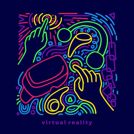 Vector color design of device virtual reality. Art line sketch, graphic hand drawn futuristic illustration, concept Doodle abstract elements of helmet, glasses, arm, mask, headphones Modern neon sign
