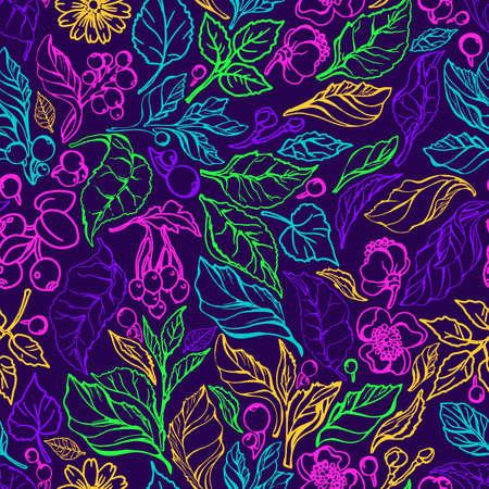 Vector seamless pattern Nature branch, leaves, flower. Green tea bush. Natural organic plant Botanical color set Art graphic paint illustration Hand drawn summer sketch Simple design, decor, wallpaper
