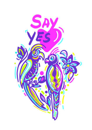 Vector colorful greeting card to Saint Valentine day. Happy parrot in love, romantic kiss Tropical flower Hand drawn cartoon design Lettering Say yes Bright modern holiday poster on white background